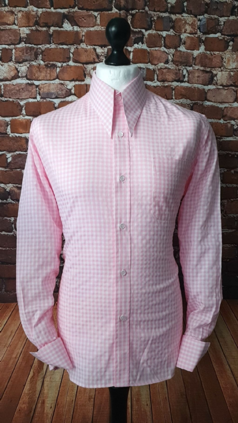 """Wallace"" Candy Pink Gingham Spear Point Collar Shirt"